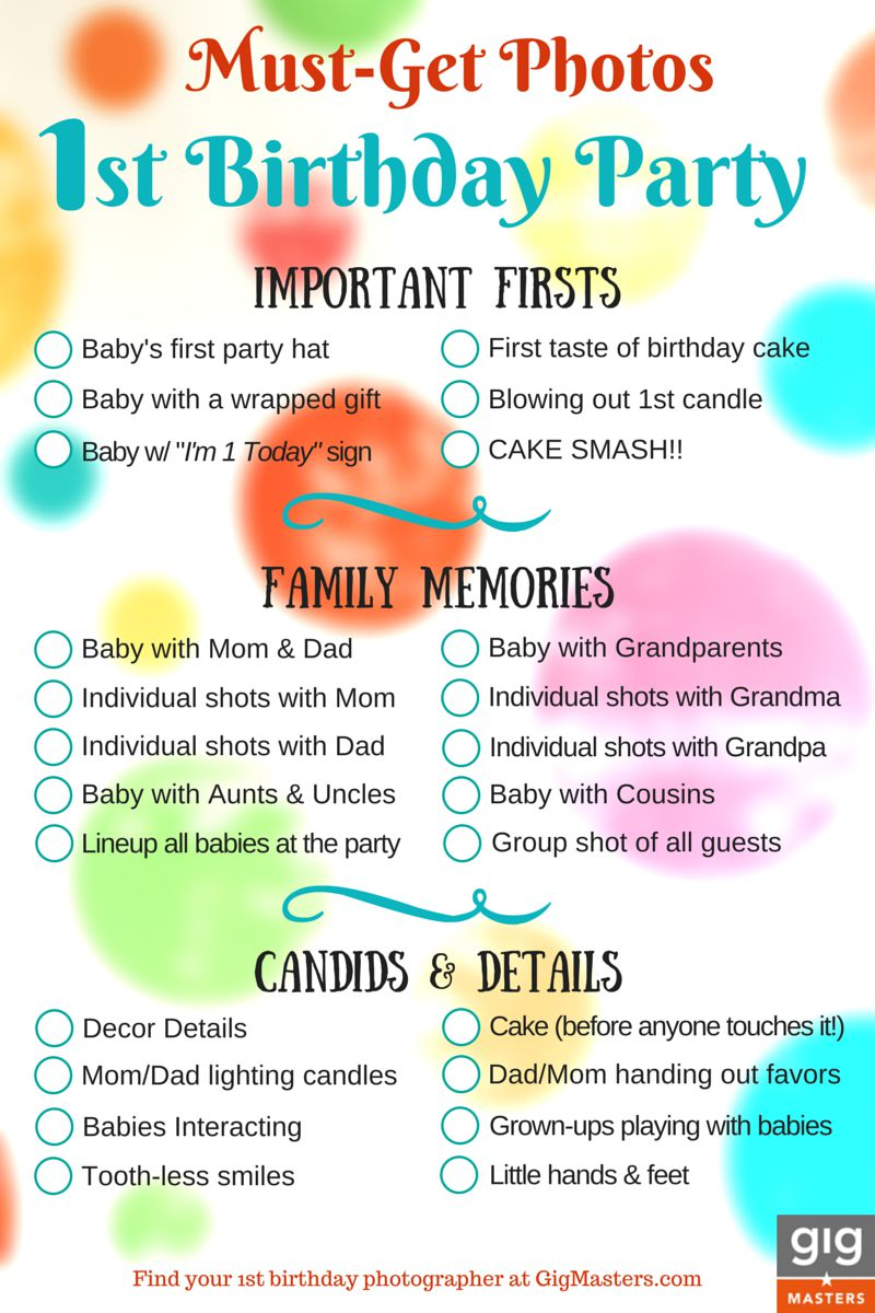 Lucrative image regarding 1st birthday party checklist printable