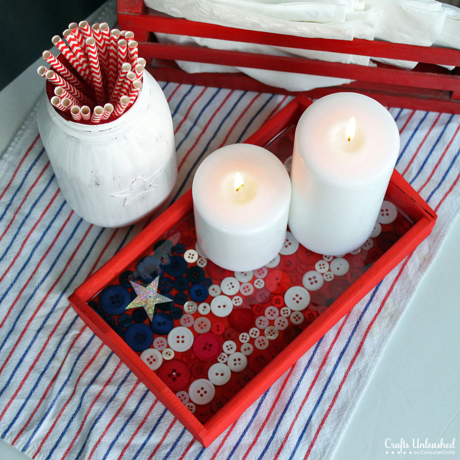 july 4th decor ideas, DIY serving tray with buttons