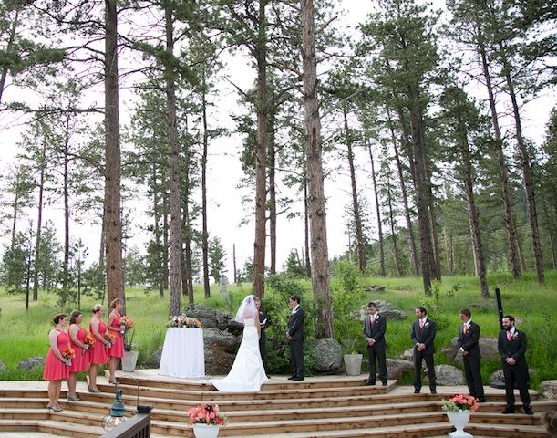 outdoor wedding under trees