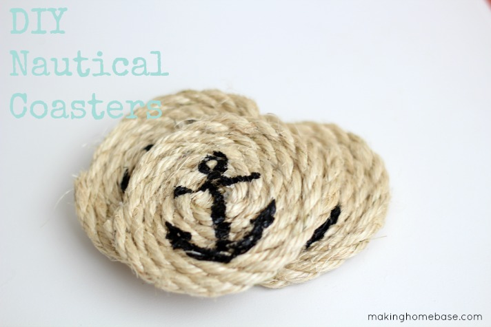 DIY nautical coasters made with rope and blue ink