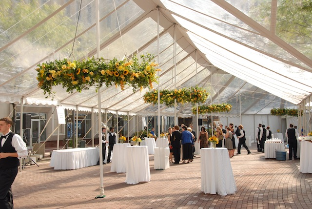 wedding tent with flowers