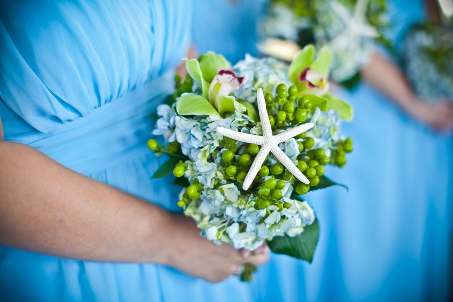 Floral bridesmaid bouquet with starfish