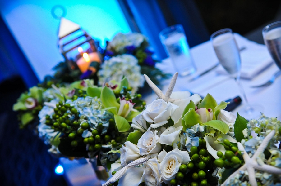 nautical wedding table inspiration, lighting and centerpieces