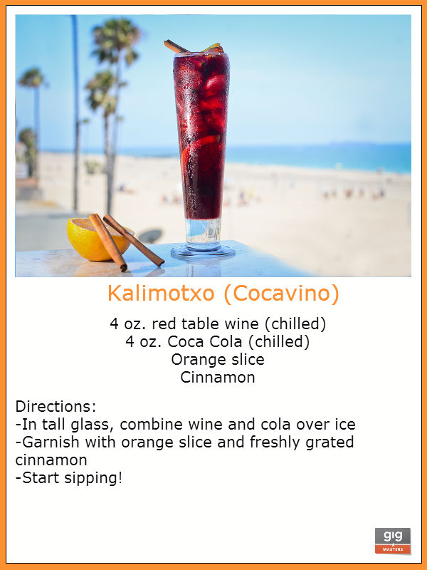 recipe for kalimotxo, drink recipes for parties