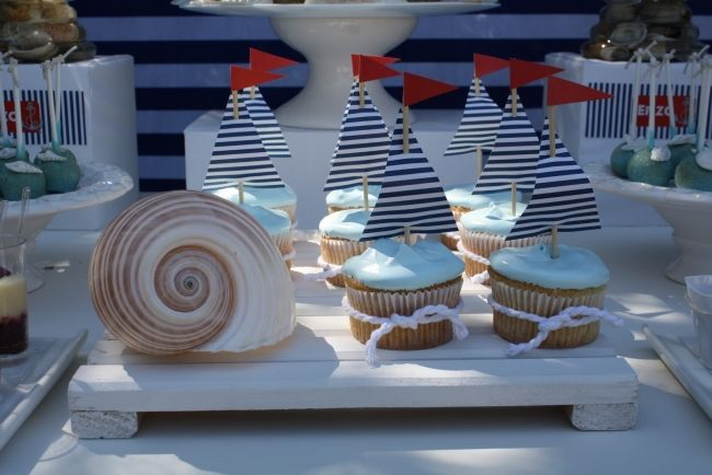Light blue cupcakes with sailor accent