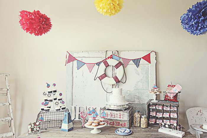 Dessert display with nautical accents