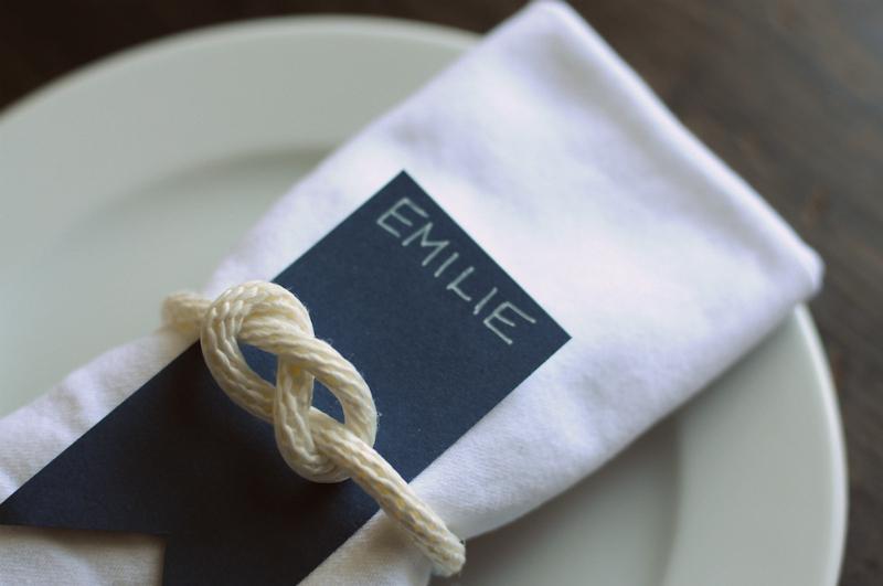 White napkin with sailor knot around it