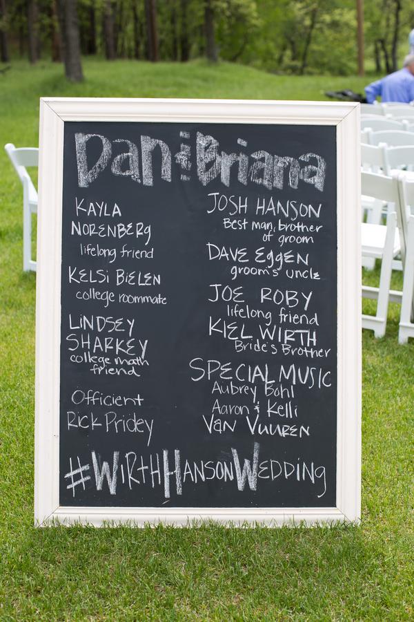 wedding hashtag on chalkboard