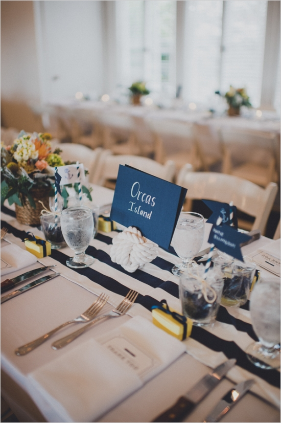 Nautical place setting with blue and yellow accents