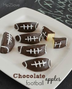 Chocolate covered football apples