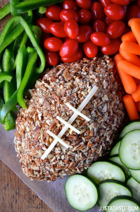 Football cheese ball with veggies