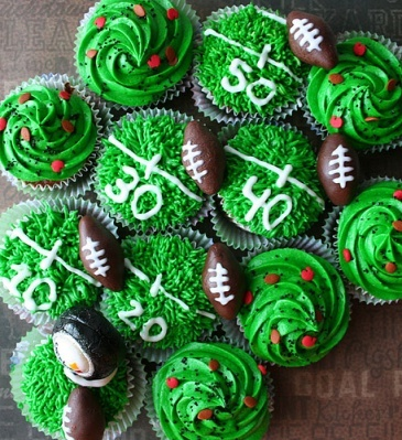 Green turf football cupcakes