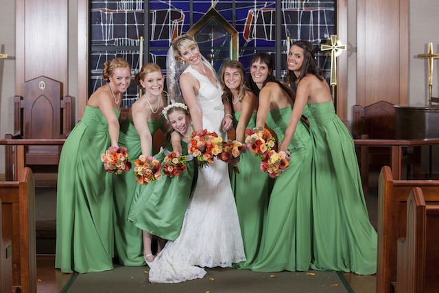 tall blonde bride, bridesmaids in green bridesmaids dresses