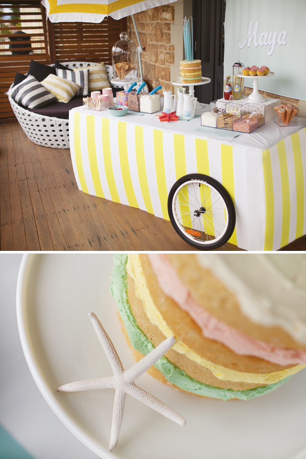 Beach themed ice cream party decor