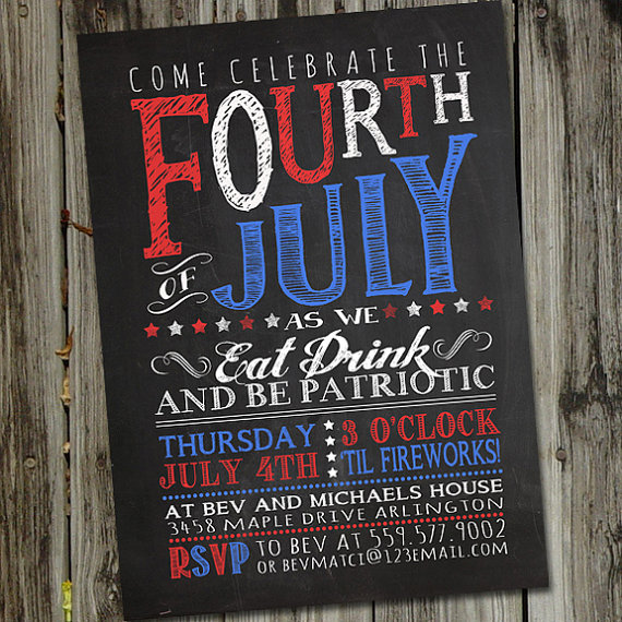 fourth of july party invitations in chalk text