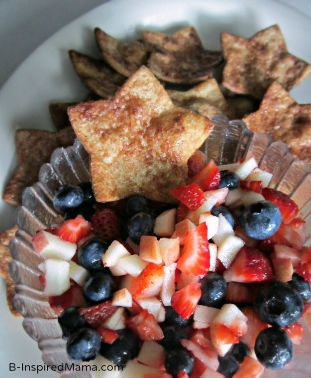 red white and blue food recipe, cinnamon chips and fruit salsa