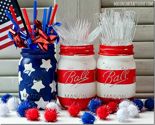 july 4th decoration ideas-American flag painted mason jars