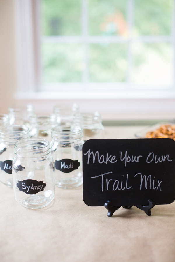 Make your own trail mix bar with mason jars - glamping inspiration