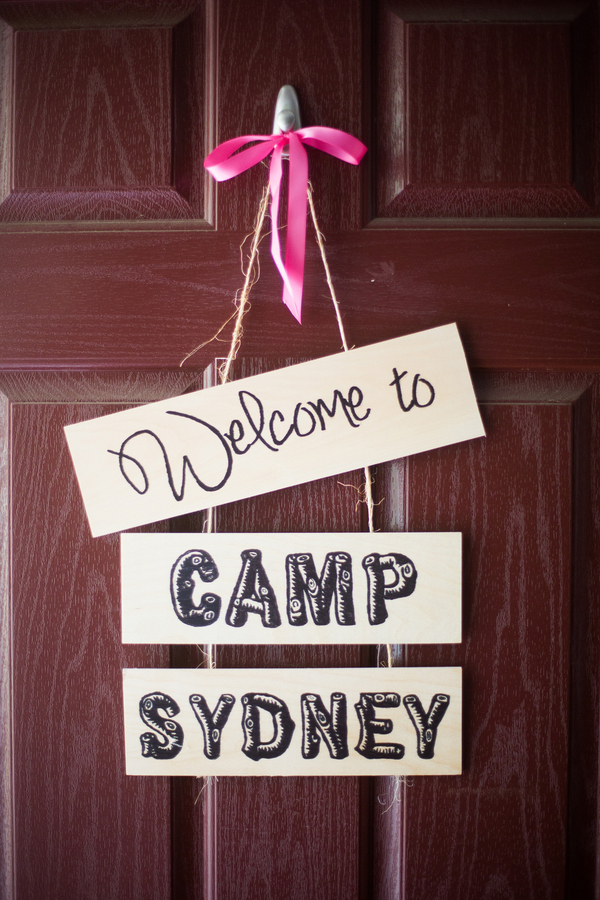 Camping themed party sign