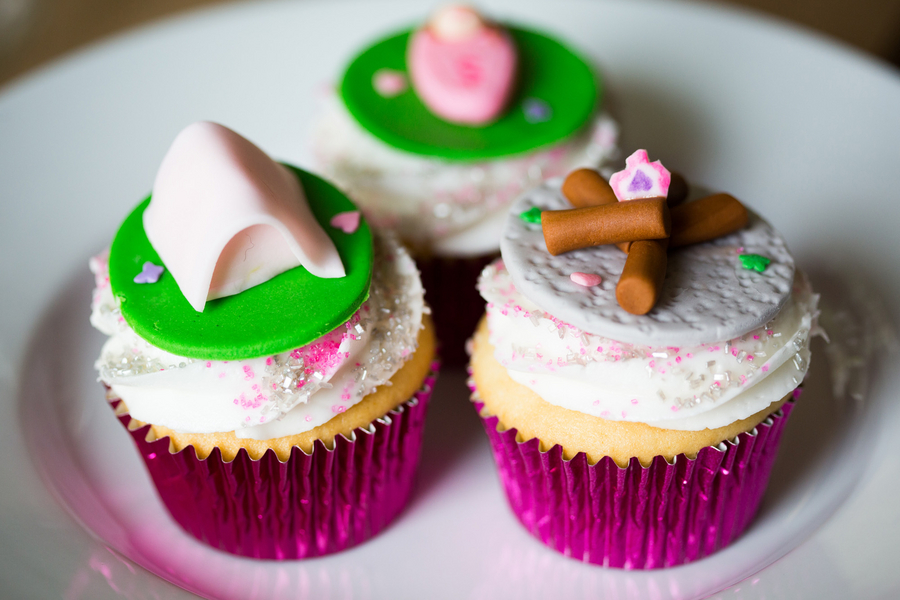 Camping themed cupcakes - tent and fire
