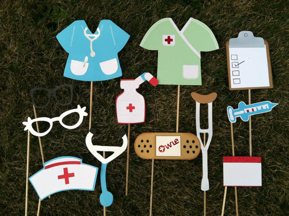 Nurse themed photo booth props: syringe, band aid and more!