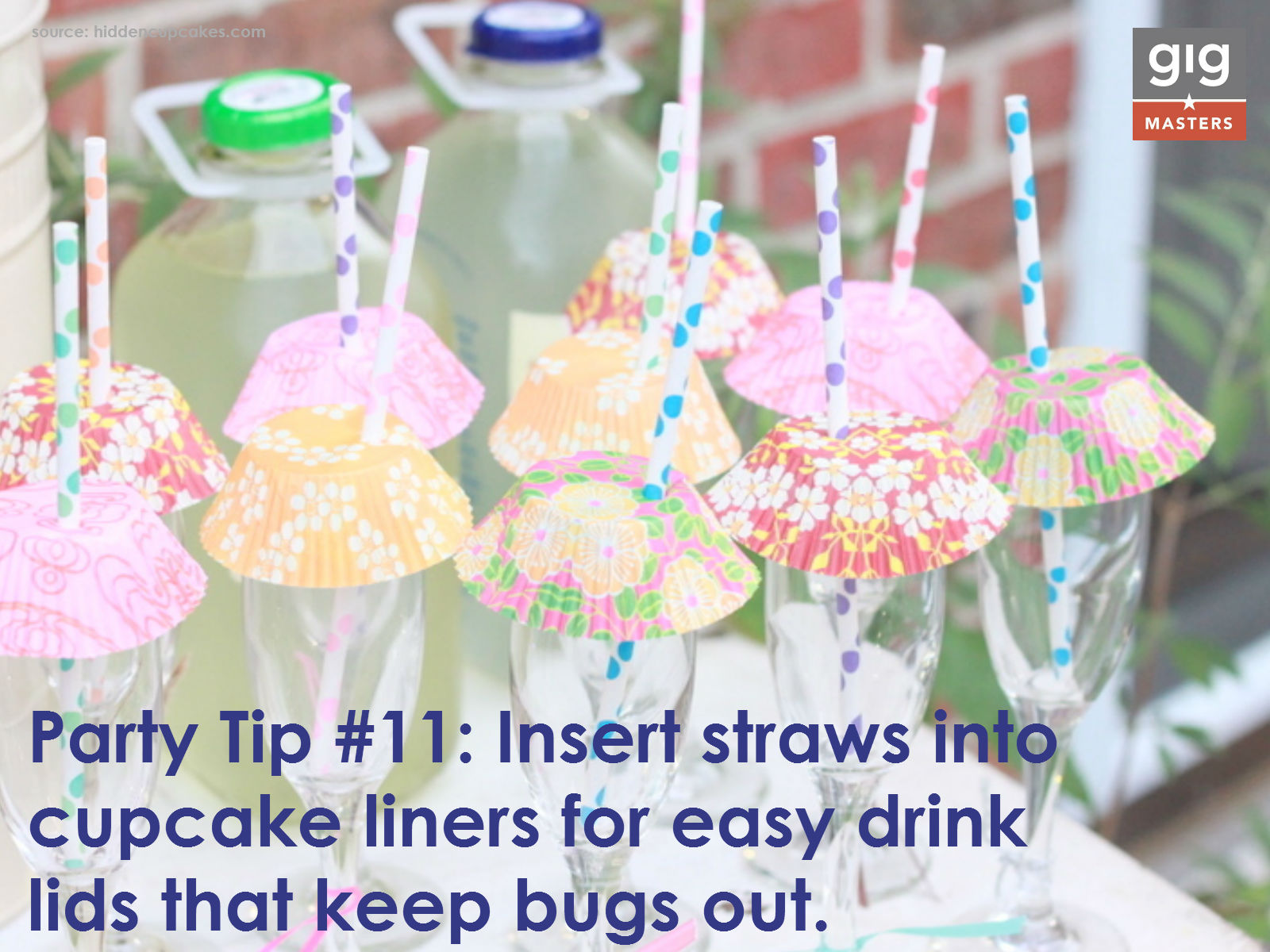 summer party tip- cupcake liners as drink lids