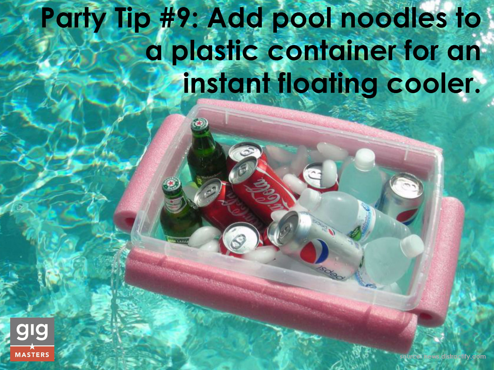 summer party tip - pool noodles for floating cooler