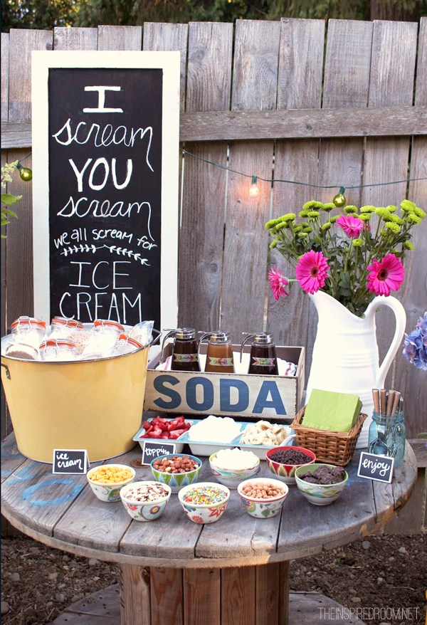 ice cream bar with toppings for summer party