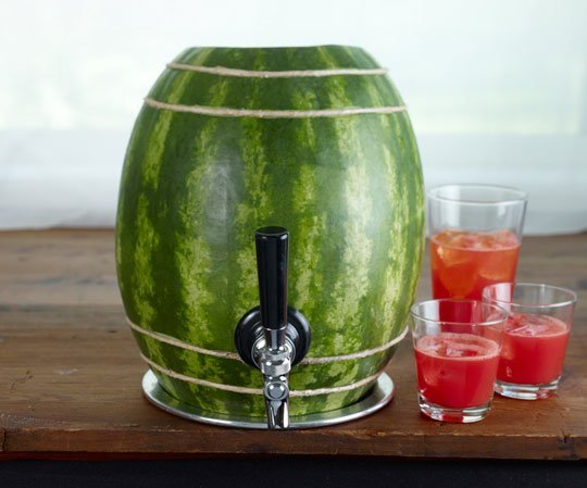 Watermelon keg with drinks