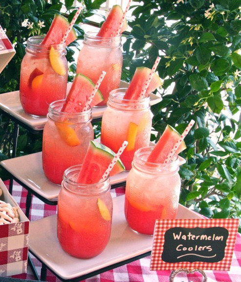 Watermelon nectarine mint cooler drinks in mason jars