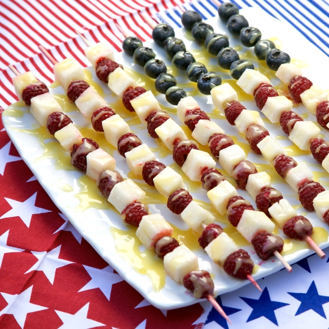 Patriotic fruit skewers for a Memorial Day party