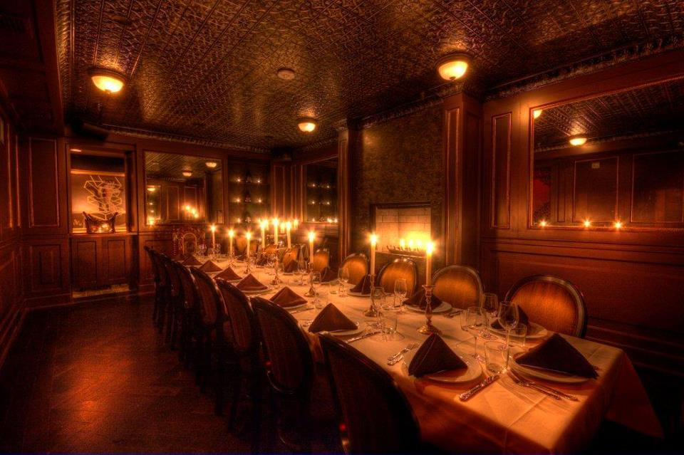 private dining room with tables and candles