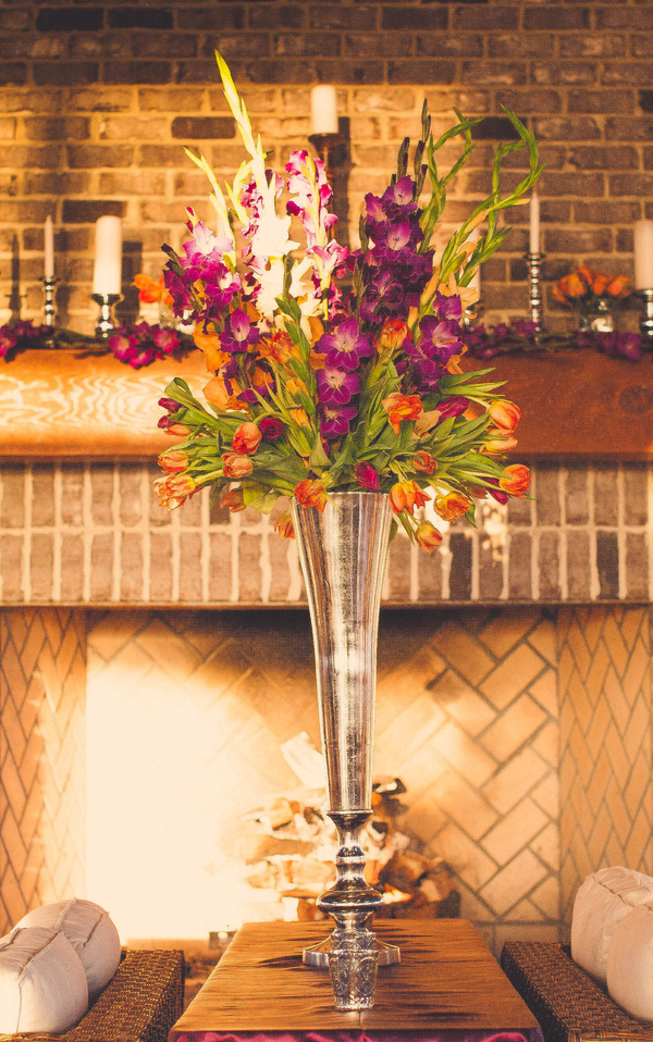 large flower arrangement on table