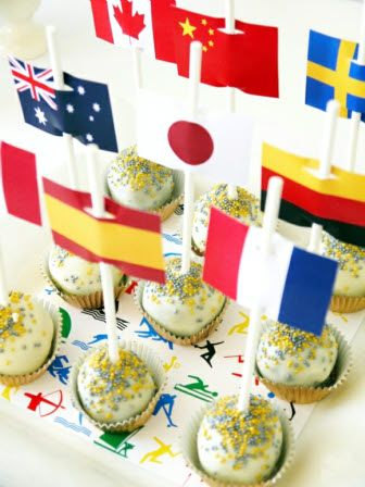 Cake Pops Topped with World Flags