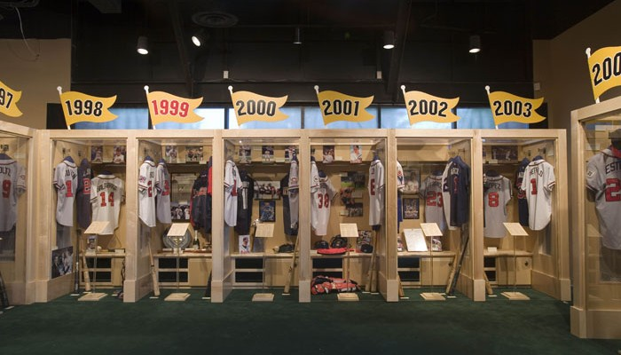 baseball museum exhibit row of lockers