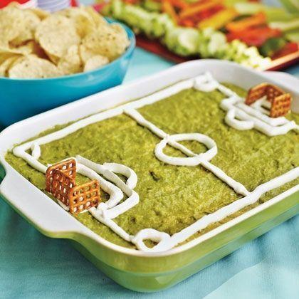 guacamole dip designed like a soccer field