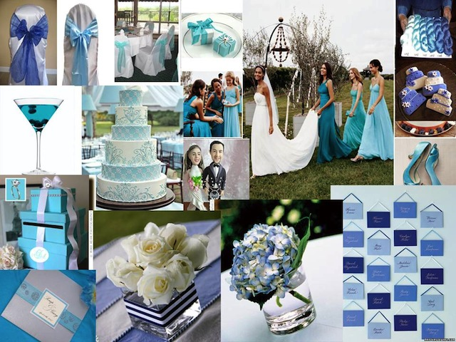 wedding inspiration board in shades of blue