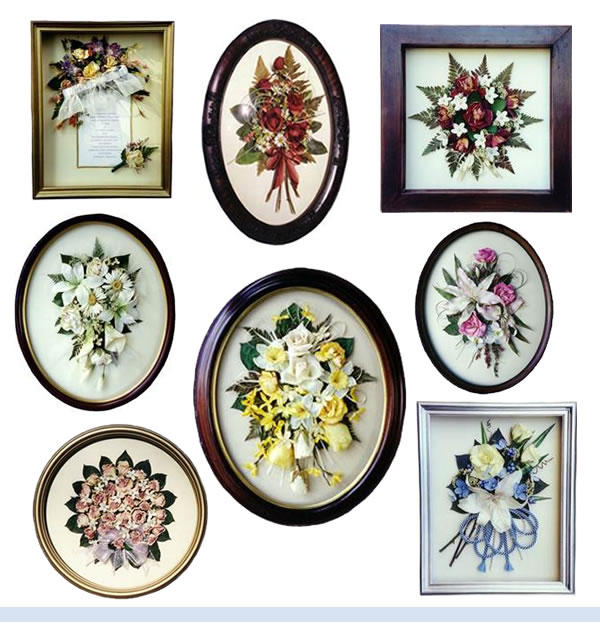 dried flowers in gallery frames