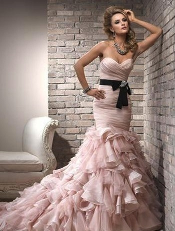strapless pink wedding dress with ruffles
