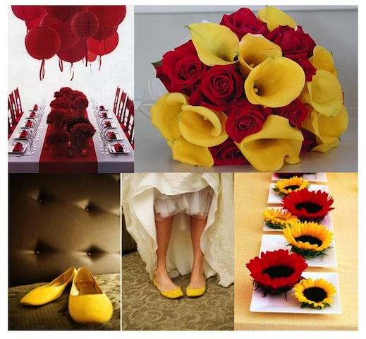 red and yellow wedding board featuring flowers