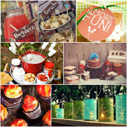 Camping themed party decoration and food ideas