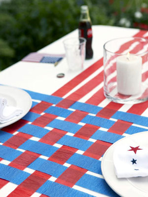 Crepe paper creates a Memorial Day table runner that is simple yet pretty