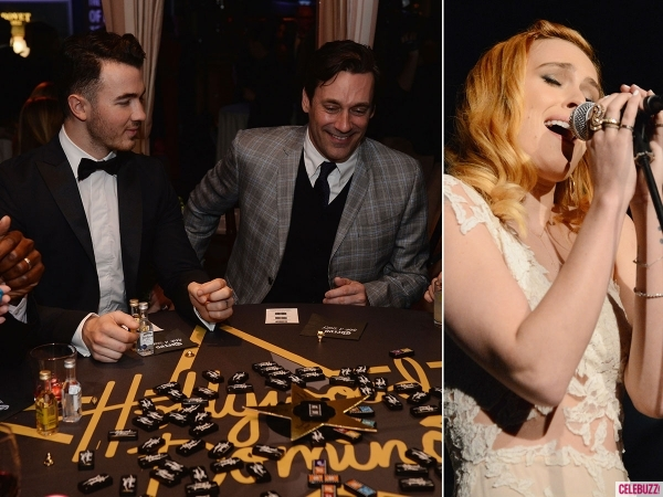 Hollywood Domino 2014: Kevin Jonas and Jon Hamm play dominos, Rumer Willis sings