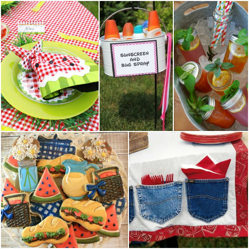summer picnic party planning inspiration- watermelon, cookies, picnic blanket, drinks