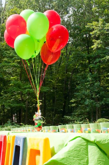 Lego theme party table decor