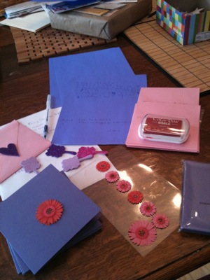 pink and purple invitation supplies