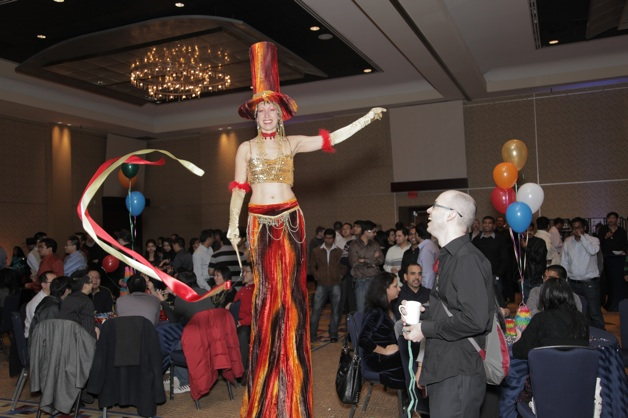 party with stilt walker