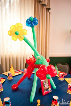 balloon animal display for 1st birthday party
