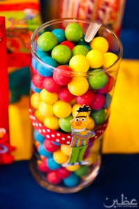multi-colored candy in Bert jar
