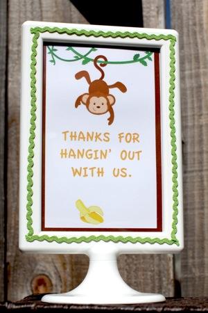 birthday sign with monkey